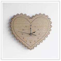 Heart Wooden Clock