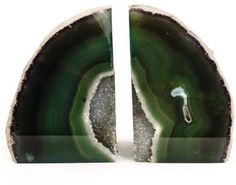 Green Agate Bookends-reminds me of Grandma Whyte's house!