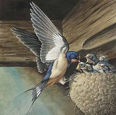 ART. SWALLOW WITH NEST