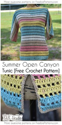 Sommerhäkelarbeit Open Canyon Tunika [Free Pattern] - Freebie Patterns - Your Free Crochet & Knit Patterns! - - Sommerhäkelarbeit Open Canyon Tunika [Free Pattern] - Freebie Patterns - Your Free Crochet & Knit Patterns! T-shirt Au Crochet, Cardigan Au Crochet, Crochet Tunic Pattern, Pull Crochet, Mode Crochet, Black Crochet Dress, Crochet Shirt, Crochet Jacket, Crochet Woman