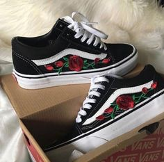 8b82e20dcc Embroidered vans custom made to order Pre order Rose vans leave a comment  on your size in woman s and I will create a ad for you they will be ready  by next ...