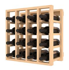 16 Bottle Wine Cubicle Storage Rack Kit in Pine. 13 Stains to Choose From!
