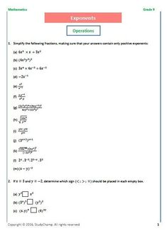Grade 9 Mathematics: Exponents