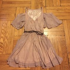 Double Zero Flowy Dress Pre-loved. Light Wear. Great condition. Fabric has pale pink shimmer. Comes with wrap around braided belt. POCKETS!!!  No Trades, Holds, Paypal, or Ⓜ.  Offer button only.  FREE but,   friendly home. Double Zero Dresses Mini