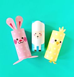 Chick, Bunny and Sheep Easter Paper Tube Craft With Free Printable Templates. Adorable Easter craft for kids.