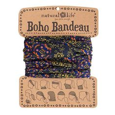Black & Gold Boho Bandeau - This super-versatile Black & Gold Boho Bandeau looks great in every season. Wrap one around your head, neck, wrist or ponytail, or wear it as a fun summer top. The fabric is so stretchy, comfy and stays in place so it's perfect for every activity... or just hanging out at home! Comes on a card printed with 11 different ways to wear the bandeau.
