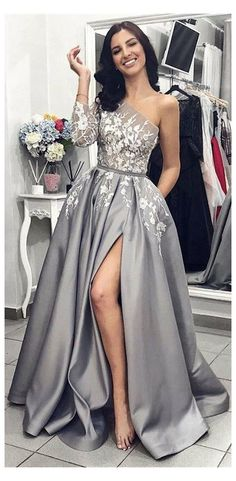 Split Prom Dresses, Grey Prom Dress, Prom Dresses Long With Sleeves, Cheap Prom Dresses, Sexy Dresses, Wedding Dresses, Summer Dresses, Long Dresses, Bridesmaid Dresses