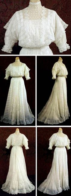 One-piece cotton batiste dress, ca. 1903, with panels of embroidered eyelet on skirt front & over-bodice. Eyelet ovals form waistband. Pouter pigeon bodice, slight train. Closes in back with hooks. Vintage Textile via The Wayback Machine