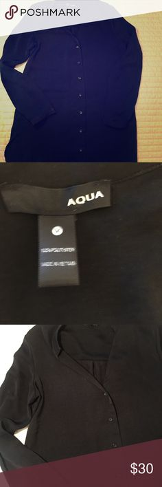 Aqua black Tunic dress size Medium Aqua black Tunic dress (clothing) size Medium  Wear with leggings, tights, skinny jeans or nothing  Good condition  Trendy Aproximate measurements: 31 inches Length, waste 20 inches  Long sleeves  Buttoned shirt Loose, soft Occasion: Casual/ work/ party Women's top Aqua Tops Tunics