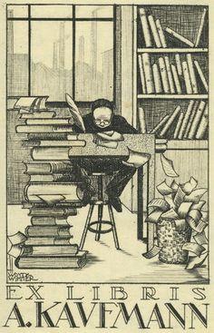 Hubert Woyty Wimmer, Exlibris A. Kaufmann, 1927 ex libris  bookplates