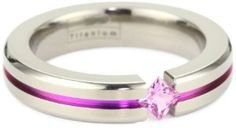 Women's Grey Titanium Princess-Cut Pink Sapphire with Pink Anodized Channel: Jewelry (would be more striking without the pink anodizing in the channel - for my style) Jewelry Rings, Jewelery, Jewelry Accessories, Fine Jewelry, Women Jewelry, Fashion Jewelry, Unique Jewelry, Women's Fashion, Channel Jewelry