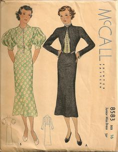 McCall 8583 after Creed | ca. 1936 Junior Miss Dress-  inspiration for Catharine's summer outfit