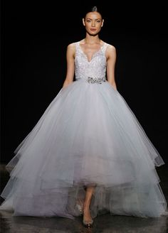 high-lo wedding dress with tulle