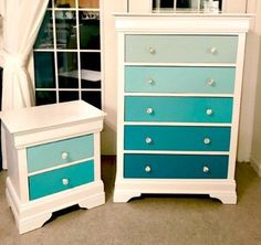 Re-Loved Teal Ombre Dresser Makeover for a girls room