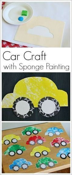 Make a paper car craft with kids using this FREE car template and sponge painting! Such a fun art activity for car-loving kids! (Perfect for toddlers, preschool, and kindergarten). {pacific kid}