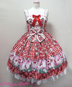 Angelic Pretty :Ribbon Berry Bunny JSK,Red Angelic Pretty, Shops, Lolita Dress, Victorian Fashion, Gothic Lolita Fashion, Kawaii Fashion, Asian Fashion, My Wardrobe, Pretty Dresses