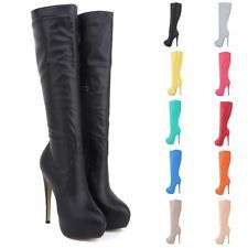 Womens High Heels Knee Wide Leg Stretch Boots Winter Autumn Shoes US Size 4-11