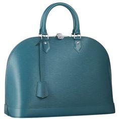 Louis Vuitton Alma Cyan Bag ❤ liked on Polyvore featuring bags, handbags, bolsas, borse, taschen, blue bag, blue purse, louis vuitton, louis vuitton handbags and louis vuitton bags