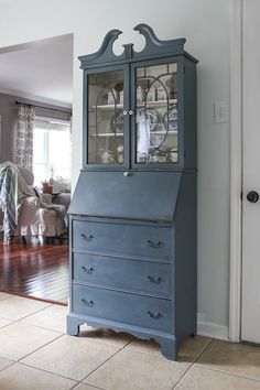 A Painted Secretary + Fusion Mineral Paint Giveaway - Shades of Blue Interiors Diy Furniture Projects, Paint Furniture, Furniture Making, Furniture Makeover, Desk Makeover, Painted Secretary Desks, Best Gray Paint Color, Paint Colors, French Farmhouse Decor