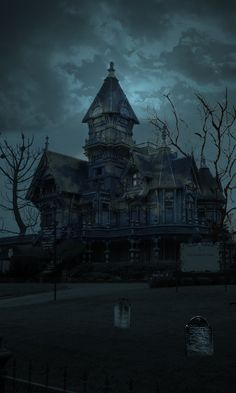 Haunted houses are so fun. This house looks very creepy and abandoned, or is it? Abandoned Mansions, Abandoned Houses, Abandoned Places, Creepy Houses, Spooky House, Spooky Places, Haunted Places, Halloween Pictures, Halloween Art