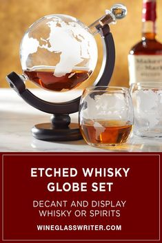 This magnificent bundle includes our Etched Globe Whisky Decanter and matching Etched Globe Whiskey Glasses. #whiskygift #whisky #whiskey #spirits #decanter Spinning Globe, Whiskey Glasses, Cork Stoppers, Decanter, Whisky, Entertaining, Gifts, Presents, Carafe