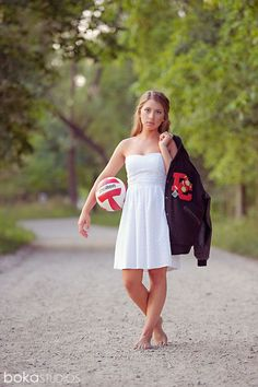 – High School Senior photo With Stuco shirt, soccer ball, homecoming crown, letterman, and other things<<< uh no. That's a volleyball. Senior Year Pictures, Volleyball Senior Pictures, Homecoming Pictures, Senior Photos Girls, Girl Pictures, Softball Pictures, Cheer Pictures, Sports Pictures, Volleyball Senior Portraits