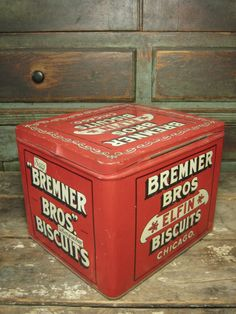 Fabulous Old Vintage Bremner Bros. Elfin Biscuits Tin Advertising Box - Hinged Lid - Excellent Condition  $95