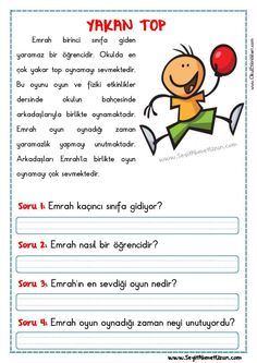 Grade 1, First Grade, Learn Turkish, Turkish Language, Classroom Rules, Reading Passages, Cool Kids, Worksheets, Activities For Kids