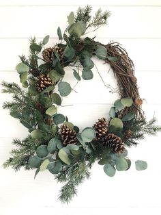 Eucalyptus and Pine Winter Wreath, Rustic Christmas Wreath, Farmhouse Christmas - #Christmas #Eucalyptus #Farmhouse #Pine #rustic #Winter #wreath