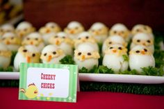 Egg chicks at a Farm birthday party #farm #partyfood