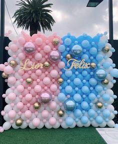 Backdrop de Globos reveal ideas for party Cadeau Baby Shower, Deco Baby Shower, Baby Shower Balloons, Birthday Balloons, Baby Shower Themes, Shower Ideas, Gender Reveal Themes, Gender Reveal Party Decorations, Balloon Decorations