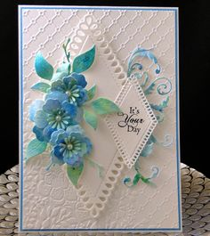 Bday Phyl May 2019 All dies and embossing folder used on this card are unbranded. The flowers were made from paper I made using my Brusho's. The sentiment is Penny Black. Designed and created by Peggy Dollar Handmade Birthday Cards, Happy Birthday Cards, Greeting Cards Handmade, Beautiful Birthday Cards, Engagement Cards, Easel Cards, Beautiful Handmade Cards, Fun Fold Cards, Heartfelt Creations