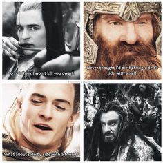 Elves and Dwarves. I loved Legolas' development between the Hobbit and LOTR. He seems wiser.