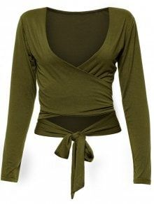 Long Sleeve Wrap Front Criss Cross Crop Top - Army Green S