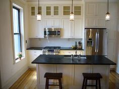 cabinets w/glass on top