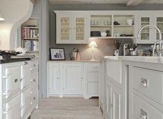 English cottage kitchen with a white Aga...