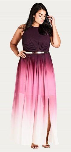 Plus Size Ombre Maxi Statement Dress