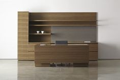 Desk and storage set / commercial - MILLENNIA by Frederick A. Poisson - Halcon