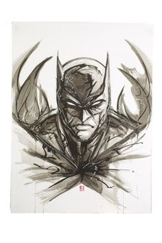 Sumi-E Batman Ink Wash and White Out Pen on Heavy Stock Paper by Jeff Martinez