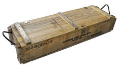 Military Surplus Ammo Crate, Wood w/ Rope Handles, old-fashioned wooden rifle crate