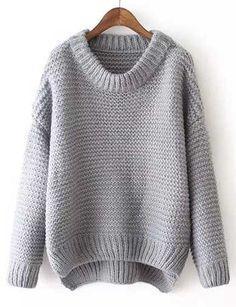 Oversize Style Asymmetrical Hem Pure Color Sweater