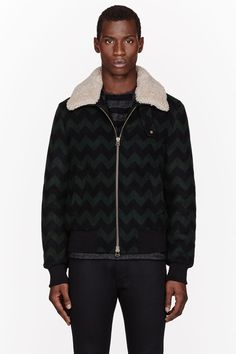 AMI Green & Blue Shearling-collared Chevron jacket