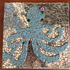 Mosaic made with tile and mirror, 3d poly flower.