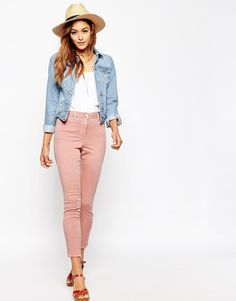 ASOS Ankle Length Stretch Skinny Pants with Raw Hem