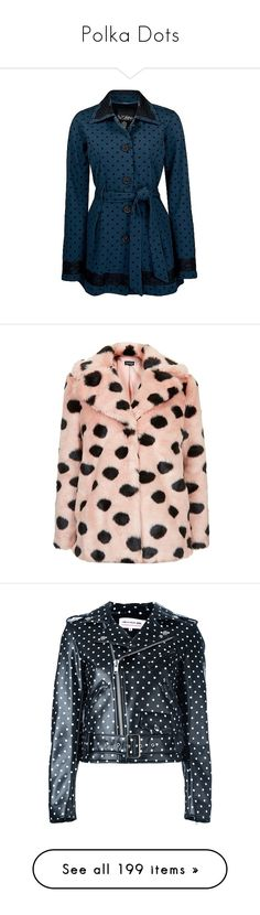 """Polka Dots"" by delta ❤ liked on Polyvore featuring outerwear, jackets, coats, blue, sweaters, peacock blue, polka dot jacket, peacock jacket, belted jacket and blue jackets"
