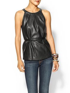 Sabine Vegan Leather Halter Top | Piperlime