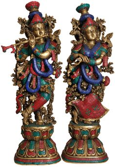 Radha Krishna (Inlay Statue), Brass Brass Statue with Inlay Krishna Hindu, Krishna Leela, Krishna Statue, Jai Shree Krishna, Radha Krishna Images, Lord Krishna Images, Krishna Radha, Iskcon Krishna, Jai Hanuman