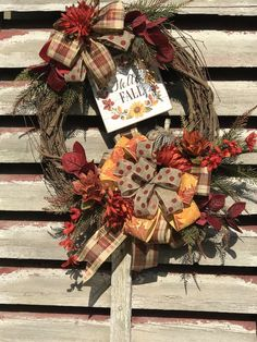 Fall wreath for front door, Autumn Floral Grapevine Wreath for Door, Friends wreath for front door, pumpkin wreath, by DesignsbyDebbyOhio on Etsy Country Wreaths, Holiday Wreaths, Primitive Wreath, Outdoor Wreaths, Pumpkin Wreath, Welcome Wreath, Summer Wreath, Wreaths For Front Door, How To Make Wreaths