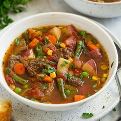 Vegetable Soup Recipe With Beef.Hearty Beef Vegetable Soup Recipe Taste Of Home. Easy Vegetable Beef Soup The Weary Chef. Beef Soup Recipes, Vegetable Soup Recipes, Slow Cooker Recipes, Crockpot Recipes, Vegetable Pho, Beef Veggie Soup, Roasted Vegetable Soup, Homemade Vegetable Soups, Gastronomia