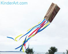 Paper Grocery Bag Kites: Crafts for Kids. Lessons and Activities for children in… Paper Grocery Bag Kites: Crafts for Kids. Lessons and Activities for children in kindergarten to grade KinderArt ® Kites For Kids, Art For Kids, Crafts For Kids, Children Crafts, School Age Activities, Activities For Kids, Camping Activities, Homemade Kites, Summer Camp Art